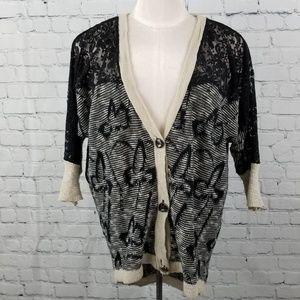 BKE BOUTIQUE    lace button up knit cardigan
